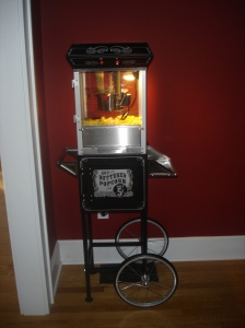 "Our Popcorn Machine, aptly named ""Poppy."""